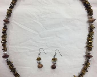 Unique Beaded Necklace and Earring Set