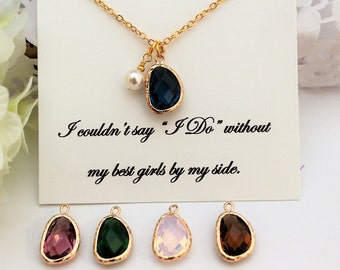 BRIDESMAID PROPOSAL WILL You Be My Briesmaid Gift Bridesmaids Gift Necklace Dark Blue Amethyst Pink Opalite Brown Dark Green Pearl Necklace