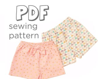 Baby and Toddler Shorts Sewing Pattern Download, Newborn - 5T. Works w/ Woven & Knit Fabrics. Pattern Comes w/ 2 Styles. Print from Home!