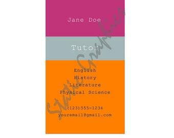 Teacher or substitute business card applelicious tutor hot pink teacher or substitute business card applelicious tutor reheart Image collections