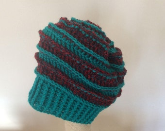 Winter slouchy crocheted hat