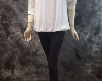 Georgette top/ Lace Blouse/ 3/4th sleeves top/ White Top/ Spring Top/ Summer Top Blouse/ Mother's day top