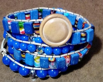 Beige Leather Four Wrap Bracelet