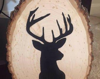 Deer Head Hand Painted Silhouette on Wood- wooden decor, deer decor, hunting decor, deer silhouette, hunting signs