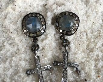 Laboradite and Diamond Cross Earrings