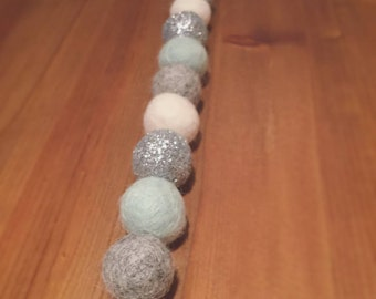 Mint, Grey, Ivory & Silver Glitter Felt Ball Garland