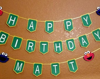 Sesame Street Happy Birthday Banner Elmo Cookie Monster