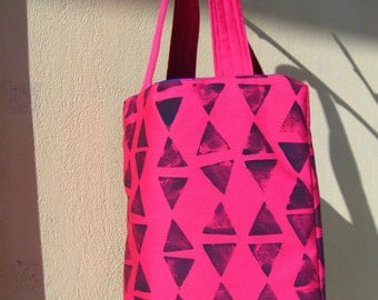 stamps triangle fuchsia tote bag