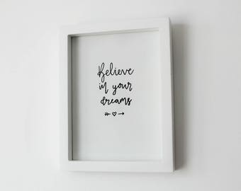 Believe In Your Dreams | handmade embossed A5 quote