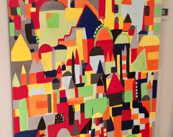Bold Acrylic Abstract Painting City Buildings Red Green Blue Orange