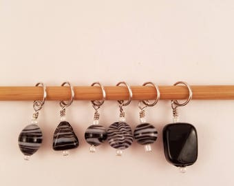 Glass Bead Stitch Markers-Black and White Stripe