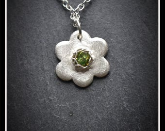 Flower CZ Pendant - Silver Precious Metal Clay (PMC), Handmade, inc. Necklace, Bracelet - (Product Code: ACM033-17)