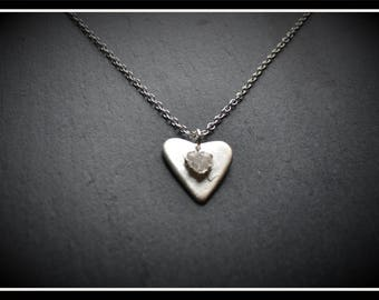 Heart CZ Pendant - Silver Precious Metal Clay (PMC), Handmade, Necklace - (Product Code: ACM037-17)
