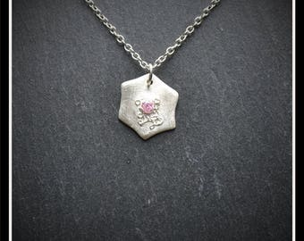 Heart CZ Detailed Pendant - Silver Precious Metal Clay (PMC), Handmade, Necklace - (Product Code: ACM040-17)