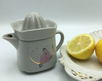 Vintage lemon squeezer with pink and gold pressed Pierrot porcelain citrus tableware breakfast duo Paris kids dishes Dinnerware