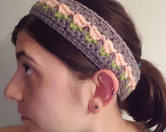 Flower Headband crochet flower headband  crochet headband pink flower headband handmade gift free shipping crochet flower crochet accessory