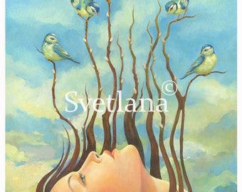 """Limited edition print of original painting by Svetlana Zhelyazkova """"Speak to Us"""""""