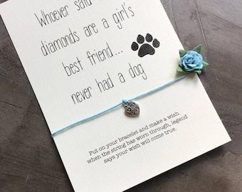Dog lover gift, Wish bracelet, dog paw bracelet, dog lover jewelry, dog lover jewelry, dog charms, dog charm bracelet, dog love,  A6