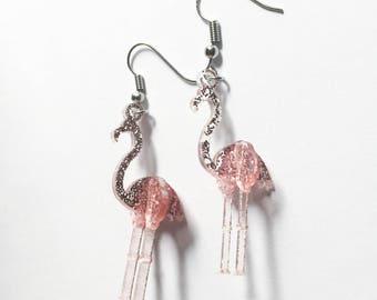Pink Glittery Flamingo 3D Laser Cut Dangle Earrings
