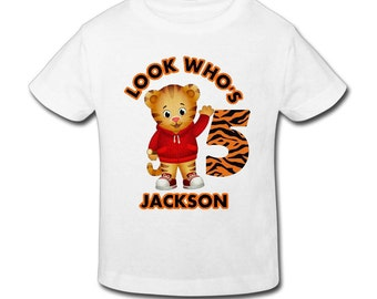 Daniel Tiger Birthday Shirt-Personalized Birthday with custom name & age T-shirt Birthday  1st, 2nd, 3rd, 4th, 5th Birthday - Fast Shipping!