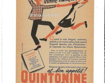 Advertising old 50s QUINTONINE I found my good mood! and von appetite! Quintonine gives good looks!
