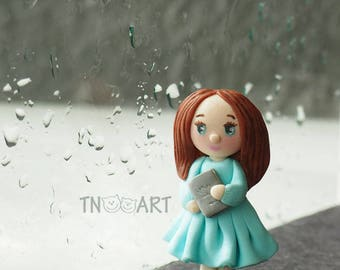 Cute Lovely Tiny Girl Brooch handmade polymer clay jewelry Pin girly blue dress book Waiting for a miracle