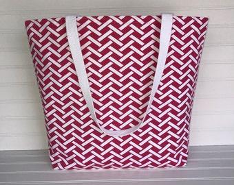Handmade Everyday Tote | Market Bag |  Pink Basketweave Tote