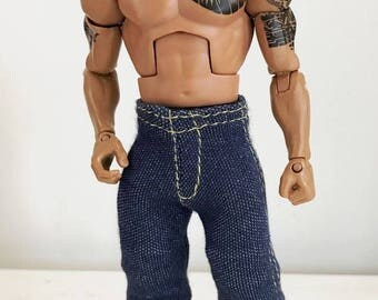 "NOX-JEANS: FIGLot 1/12 Scale Fabric Jeans for 7"" Mattel Elite Wrestling WWE Figures"