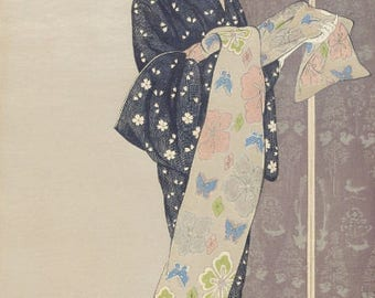 "Japanese Art Print ""Young Woman in a Summer Kimono"" by Hashiguchi Goyo, woodblock print reproduction, fine art, asian art, cultural art"