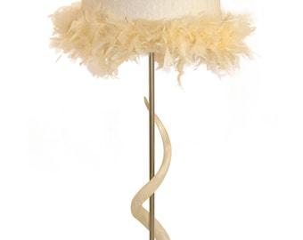 Kudu Bone Lamp with Feather Boa Lamp Shade