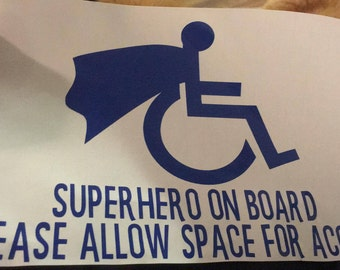 Superhero On Board Wheelchair Decal