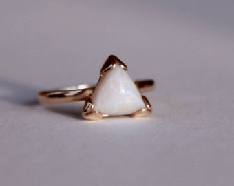 18k rose gold white opal ring