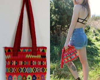 Vintage 60s Colorful Woven Tapestry Handbag Beach Tote