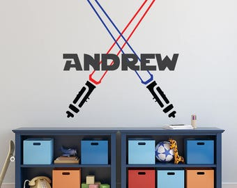 Star Wars Decal - Personalized Name Wall Decal - Boys Room Decor - LightSabers Decal - Kids Vinyl Wall Decal - Jedi Name Wall Art