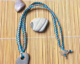 beach Hagstone pendant on macrame'd cord with seaglass closure