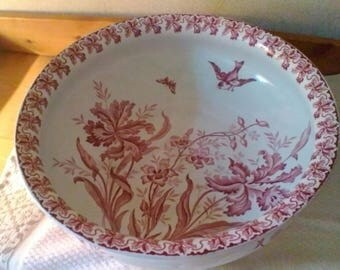 "Beautiful large bowl - French vintage St Amand Hamages ""orchidées"""