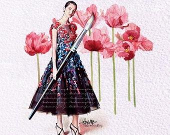 Florals Blooming Fashion Print (Marchesa Fashion Illustration)