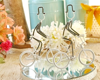 LGBT Wedding Cake Topper, Mr and Mr Silver BMX Wedding Bikes with Silver Wheels, Handmade Wedding Cake Topper