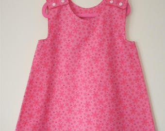 Handmade Girls Age 2-3 Years A-Line Dress ''Pink Floral''