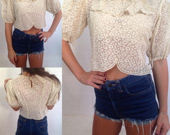 old cream-colored lace Shirt  from the fifties, European size S