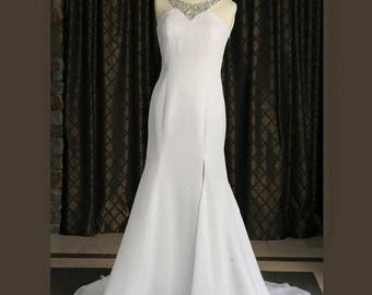 White and Ivory Chiffon Wedding Gown