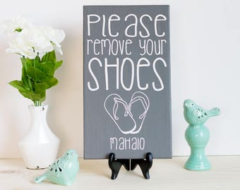 No shoes Sign - Front Door - No Shoes - Gray and White Wood Sign - Slippers Art