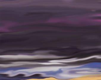 Wall Art Canvas Stormy Beach Ocean Sky Digital art Ready to hang