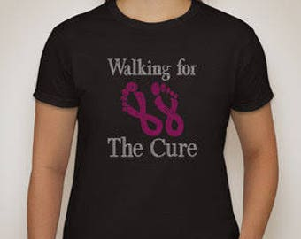Walking for the Cure, Breast Cancer, T-shirt, rhinestone, pink