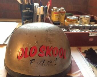 Vintage hand painted pudding basin motorcycle helmet