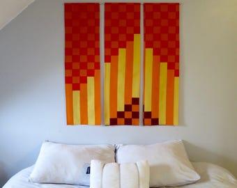Three panel textile wall hanging home decor made from genuine Marimekko fabric