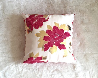 Hand Made Japanese Red Peony Cushion