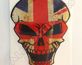 Sticker skull flag United Kingdom UK Union Jack adhesive embossed vinyl resin car Moto Tablet portable 3D