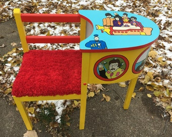 Yellow Submarine Telephone Table Beatles Upcycled Art Furniture