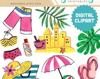 BEACH Digital Clipart Instant Download Illustration Artwork Watercolor Vacation Summer Sandcastle Ocean Bikini Swimming Flip Flops Tropical